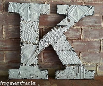 "Large Antique Tin Ceiling Wrapped 16"" Letter 'K' Patchwork Metal Mosaic White L3"