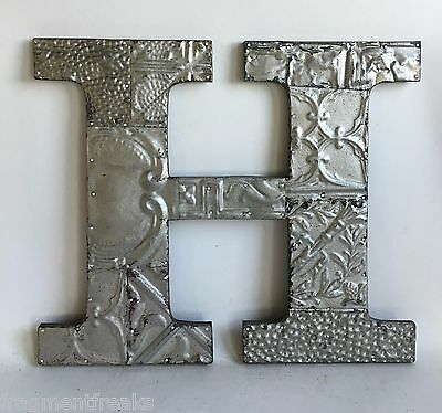 "Large Antique Tin Ceiling Wrapped 16"" Letter 'H' Patchwork Metal Silver A14"