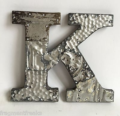 "Antique Tin Ceiling Wrapped 8"" Letter ""K"" Patchwork Metal Mosaic Silver E13"