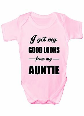 I Get Good Looks From My Auntie Aunt Boys Girls Baby Babygrow  0 - 18 Months