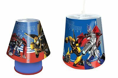 Transformers Kool Lamp and Shade Set. Children's Mains bedside Light and ceiling