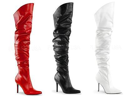 """Pleaser Classique 3011 Thigh High Boots 4"""" Stiletto Heel Scrunch Pointed Toe"""