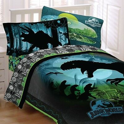 nEw JURASSIC WORLD BEDDING SET - Dinosaur Growl Raptor T-Rex Comforter Sheets