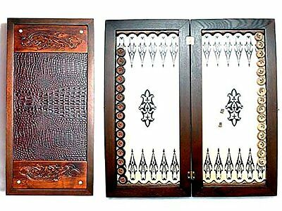 "Large Size Handmade Solid Wooden Backgammon Set Board Game ""Fantasy""  Panther"