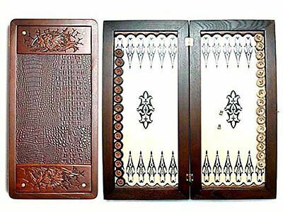 "Large Size Handmade Solid Wooden Backgammon Set Board Game ""Fantasy""  Dragon"