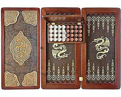 "Large Size Handmade Solid Wooden Backgammon Set Board Game ""Golden Dragon II"""