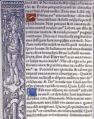 HAND-ILLUMINATED & PRINTED BOOK OF HOURS LEAF, c.1518 PSALM 41, LESSONS, GOLD!