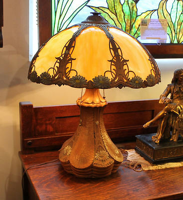 Antique Lamp Floral Pottery Base Table with matching overlay Slag glass shade