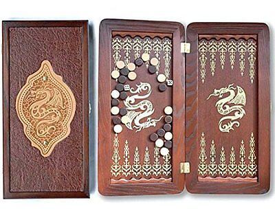 "Middle Size Handmade Wooden Solid Backgammon Set Board Game ""Golden Dragon"""