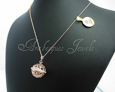 Genuine 9Ct Rose Gold/sterling Silver Angel Caller/bola/harmony Necklace/pendant
