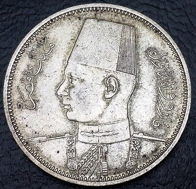 Egypt 1939 (1358) 5 Qirsh Piastres .720 Silver Coin, KM# 366 - FREE COMBINED S/H