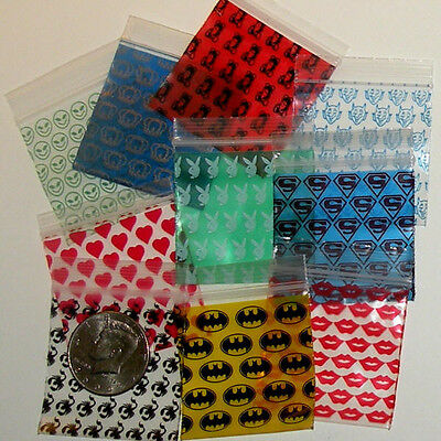 200 Mixed Designs Baggies 2020 ziplock bags  2 x 2 in. Apple reclosable minizips
