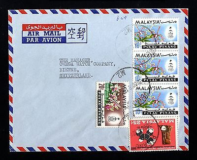 13500-MALAYSIA-AIRMAIL COVER PENANG to BIENNE (switzerland) 1968.Malaisie.MALAYA