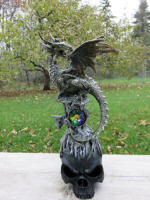 Dragon Figurine With Diamond New Dragen Resin With Skull Ornament