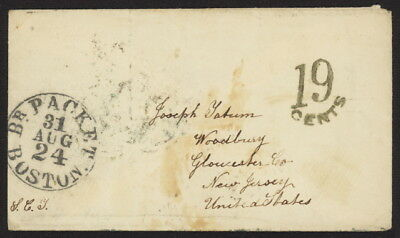 1855 GB Stampless cover (no ltr) w/Beach?? pmk & Br Packet Boston & more cancels