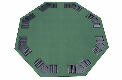 "48"" x 48"" Octagon Poker Table Top Foldable Game Table Texas Holdem w/ Cup Holder"