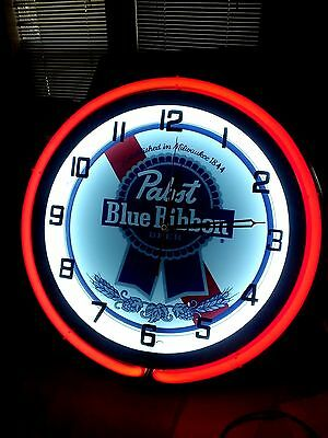 PABST BLUE RIBBON beer Double Neon Clock sign