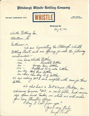 1932 Pittsburgh Whistle Bottling Co. Letter - Pittsburgh, PA