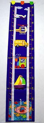 Boys Fabric Transportation Growth Chart & Photo Holder Wall Hanging~Inches & Cm