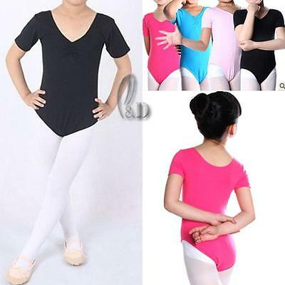 AU SELLER Girls Ladies Cotton Dance Ballet Gymnastics Short Sleeve Leotard da004
