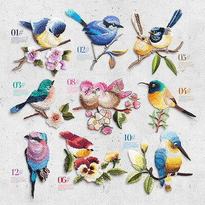 Bird Flower Colorful Embroidered Iron on Applique Patch Dress DIY Accessories