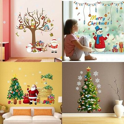 HOT! Merry Christmas Tree Santa Vinyl Removable Wall Sticker Decals Window Decor