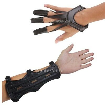 Cow Leather 3 Strap Shooting Hunting Archery Arm Guard & Three Finger Glove Set
