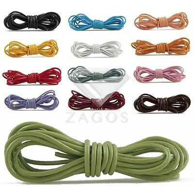 2m/Roll Round Leather Cord Wire Thong Strings Fit Bracelet Jewellery 1/1.5/2/3mm