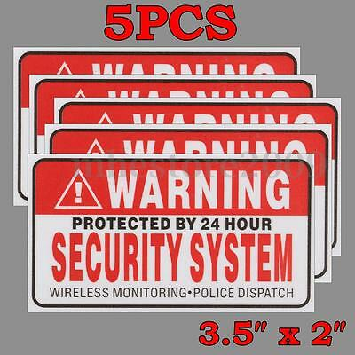5 Pack Protected By 24 Hour WARNING Security System Stickers Safty Signs Decal