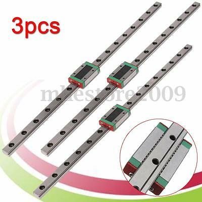 3Pcs MGN12 12mm Linear Rail Guide Slide MGN12 400mm Length + Mini MGN12H Block