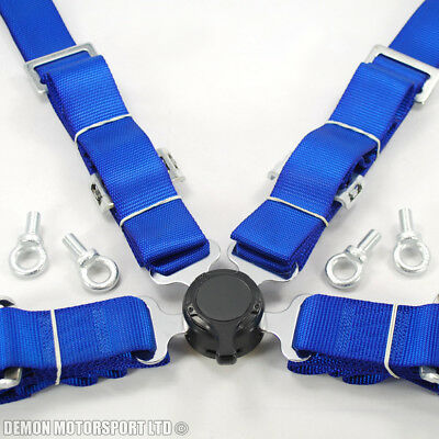 """2"""" Inch 4 Point Quick Release Seat Belt Harness (Blue) with Eye Bolts"""