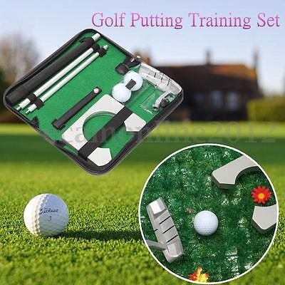 Portable Golf Putter Putting Training Indoor Home Office Practice Aids Case Set