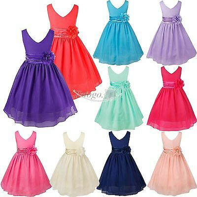 Formal Flower Girl Kid Christening Wedding Party Bridesmaid Princess Tulle Dress