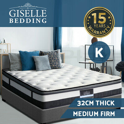 Premium KING Mattress Euro Top Cashmere Fabric 5 Zone Pocket Spring Foam