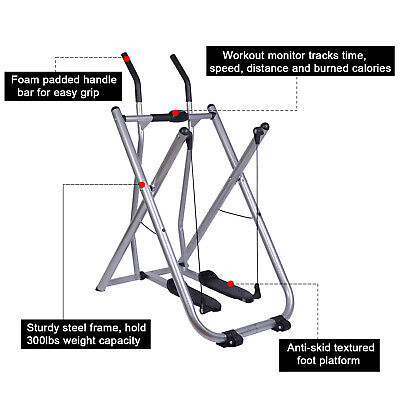 Exercise Fitness Air Walker Folding Machine Glider Sports Trainer W/ Pedometer