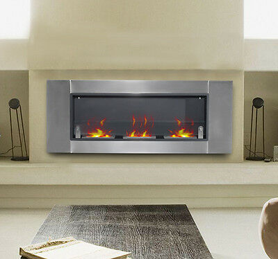 "HOMCOM 53.5"" Wall Mounted Bio Ethanol Fireplace W/ Three 1.5L Insert Burners"