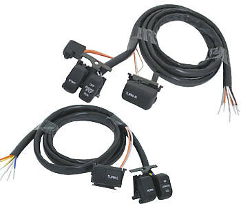 Extended Handlebar wiring with Black Switches Harley-Davidson 1996 to 2006