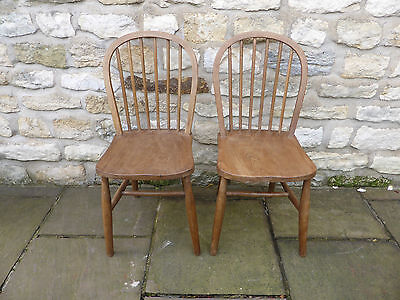 Pair Vintage Stripped and Polished Kitchen Chairs. Beech Wood.
