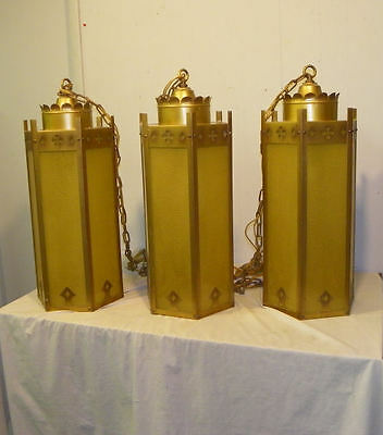 Three Antique Hanging Arts & Crafts style Mission Light Fixtures – Brass