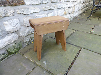 Vintage stripped pine bench stool with finger hole