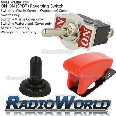 ON / ON Toggle Flick Switch 12V Car Dash Light SPDT 10A + Water / Missile Cover