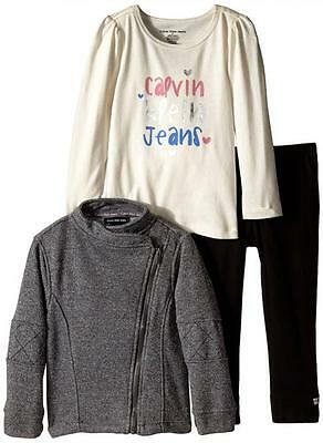 bc0084ceafd0 Calvin Klein Toddler Girls Gray Sparkle Jacket 3pc Legging Set Size 3T  $79.50