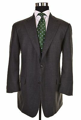 Brooks Brothers Gray Flannel Houndstooth Wool CASHMERE Sport Coat Jacket 43 R