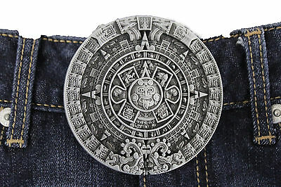 Men Women Metal Belt Buckle Antique Silver Metal Fashion Aztec Calendar Mayan