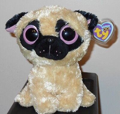 NM* Ty Beanie Boos - PUGSLY the Pug Dog (Solid Eye Color) (9 inch) NMWMTS