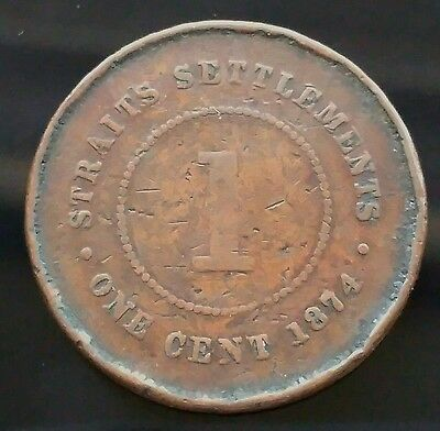 1874 Straight Settlements One Cent Coin -  B2D214