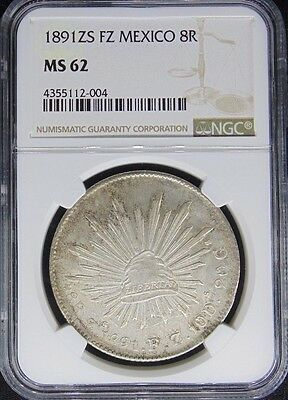 1891 Zs Fz Mexico 8 Reales Ngc Certified Ms 62 (004)