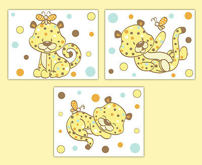Safari Nursery Prints Cheetah Wall Art Gender Neutral Jungle Animals Room Decor