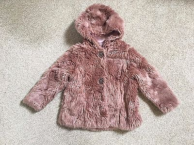 NEXT Girls Pink Faux Fur Hooded Linining Coat 3-4 years