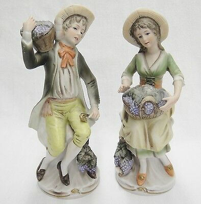 "Homco 2 Figurines Peasant Couple with Baskets of Grapes 8"" Tall Bisque Chipped"